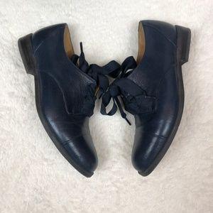 Nine West Thalya Blue Leather Ribbon Oxfords